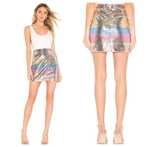 LOVERS + FRIENDS Carmen Rainbow Sequin Mini Skirt